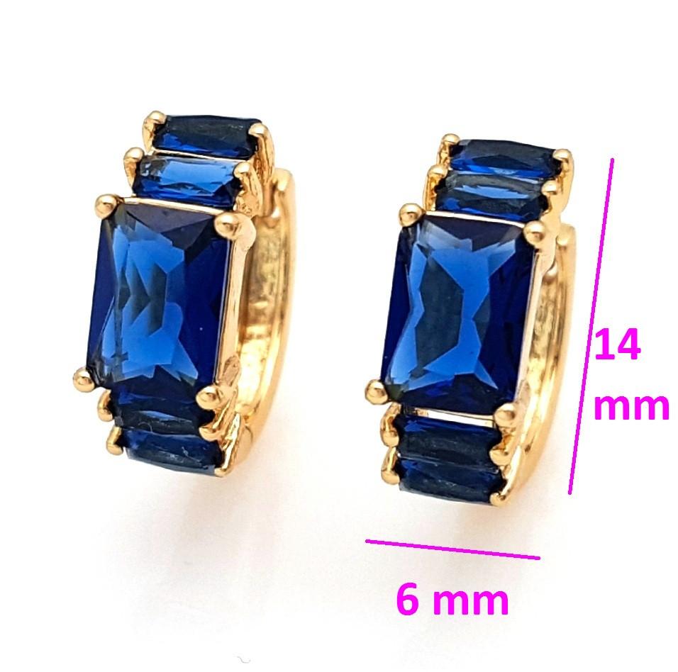 Серьги колечка, Прямоугольник с синим цирконием, позолота Xuping