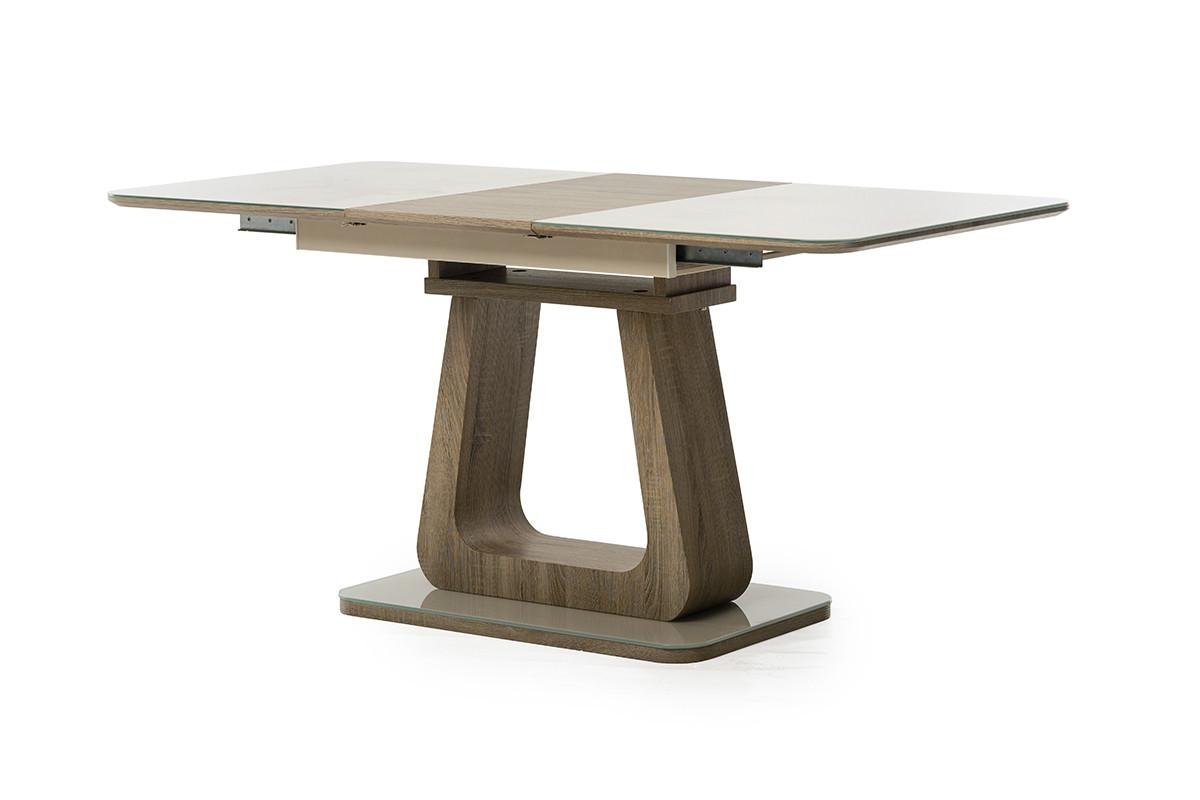 Раздвижной стол ТМL-521-1 Vetro Mebel капучино+дуб, 1,2/1,6м