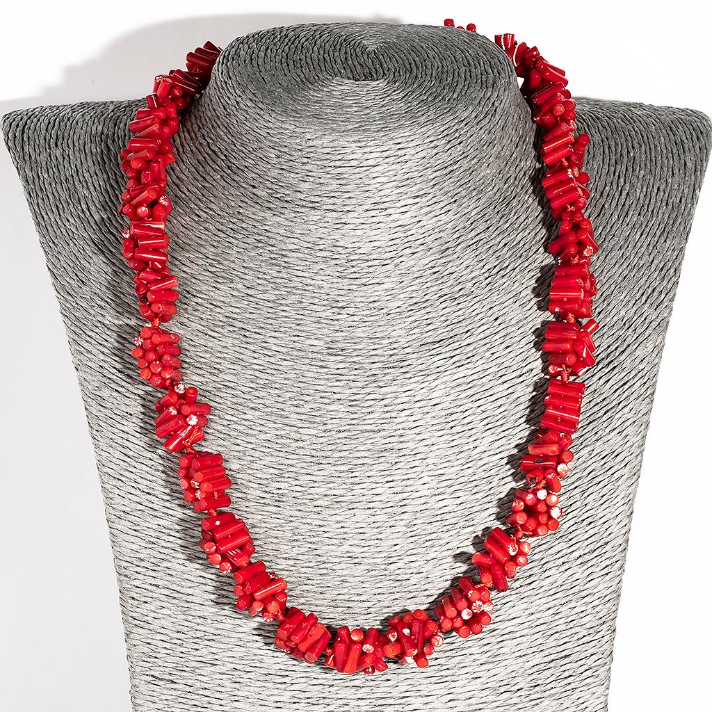 Коралл красный, бусы, 134ОК