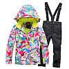 """Лыжный костюм """"Розовые разводы"""" - 4 варианта, для детей и подростков, фото 4"""
