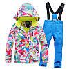"""Лыжный костюм """"Розовые разводы"""" - 4 варианта, для детей и подростков, фото 5"""