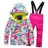 """Лыжный костюм """"Розовые разводы"""" - 4 варианта, для детей и подростков, фото 3"""