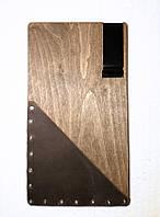 Счетница - планшет с карманом и зажимом, 11х20 см, дерево/натуральная кожа, фото 1