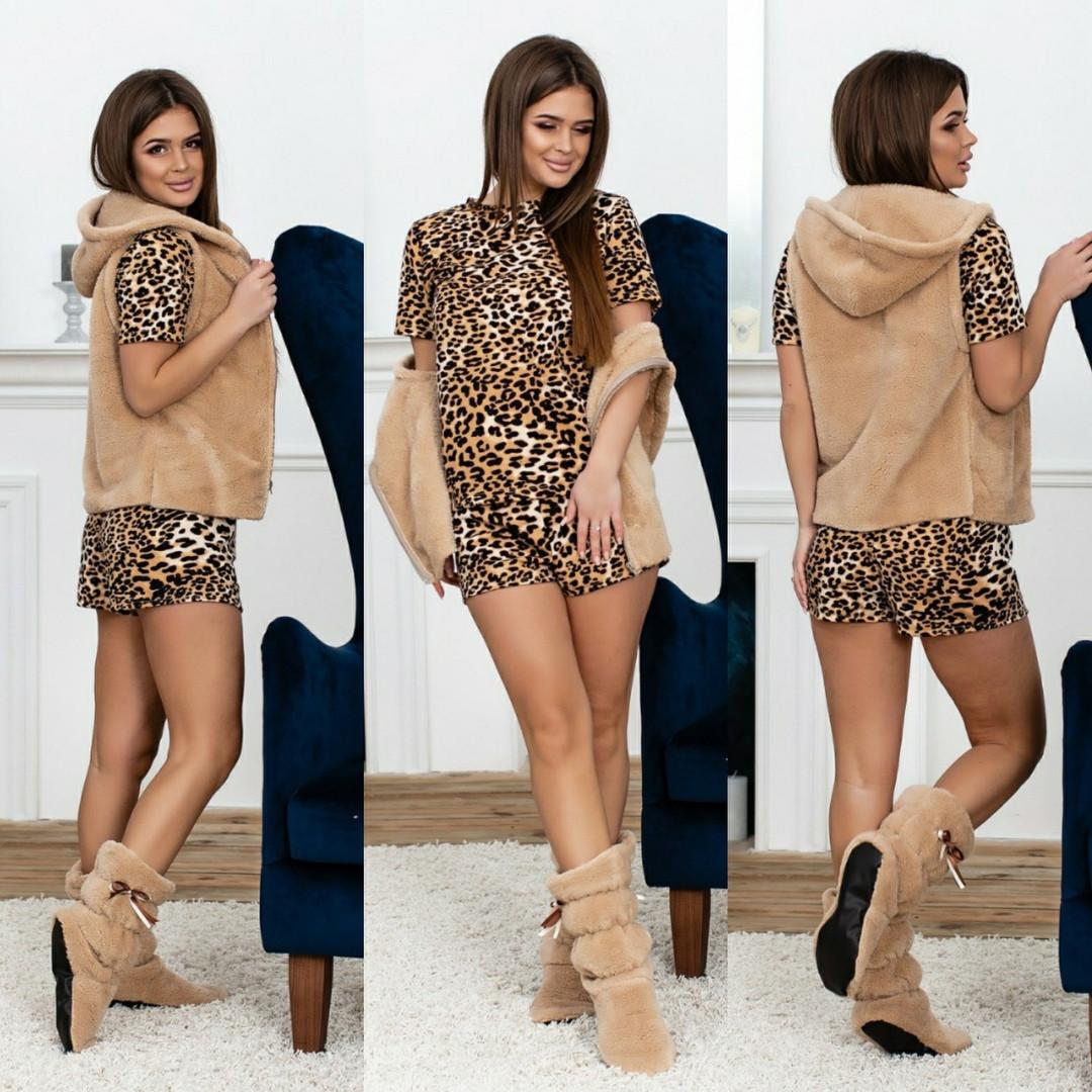 Комплект для дома пижама+жилет махра+сапожки.