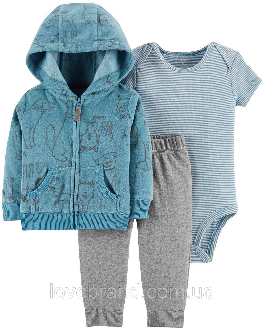 Спортивный костюм штанишки, боди и кофта с капюшоном Carter's для мальчика синий 3 мес/55-61 см