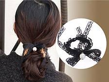 Резинка на голову чёрная с чемчугом