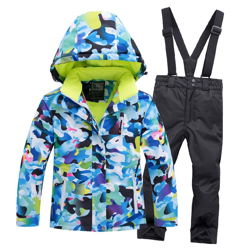 """Лыжный костюм """"Голубые разводы"""" - 4 варианта, для детей и подростков"""