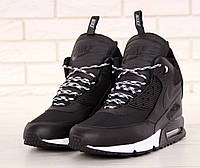 Кроссовки мужские Nike Sneakerboot зимние высокие  удобные кожаные с термоноском  (черные), ТОП-реплика