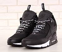 Кроссовки мужские Nike Sneakerboot зимние высокие  удобные кожаные с термоноском  (черные), ТОП-реплика, фото 1