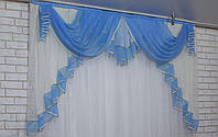 Ламбрекен на карниз 2м. №107 Цвет голубой с молочным.