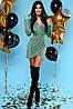 Сияющее Серебристое Платье Мини Нарядное на Запах Изумрудное S-XL