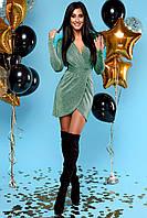 Сияющее Серебристое Платье Мини Нарядное на Запах Изумрудное S-XL, фото 1