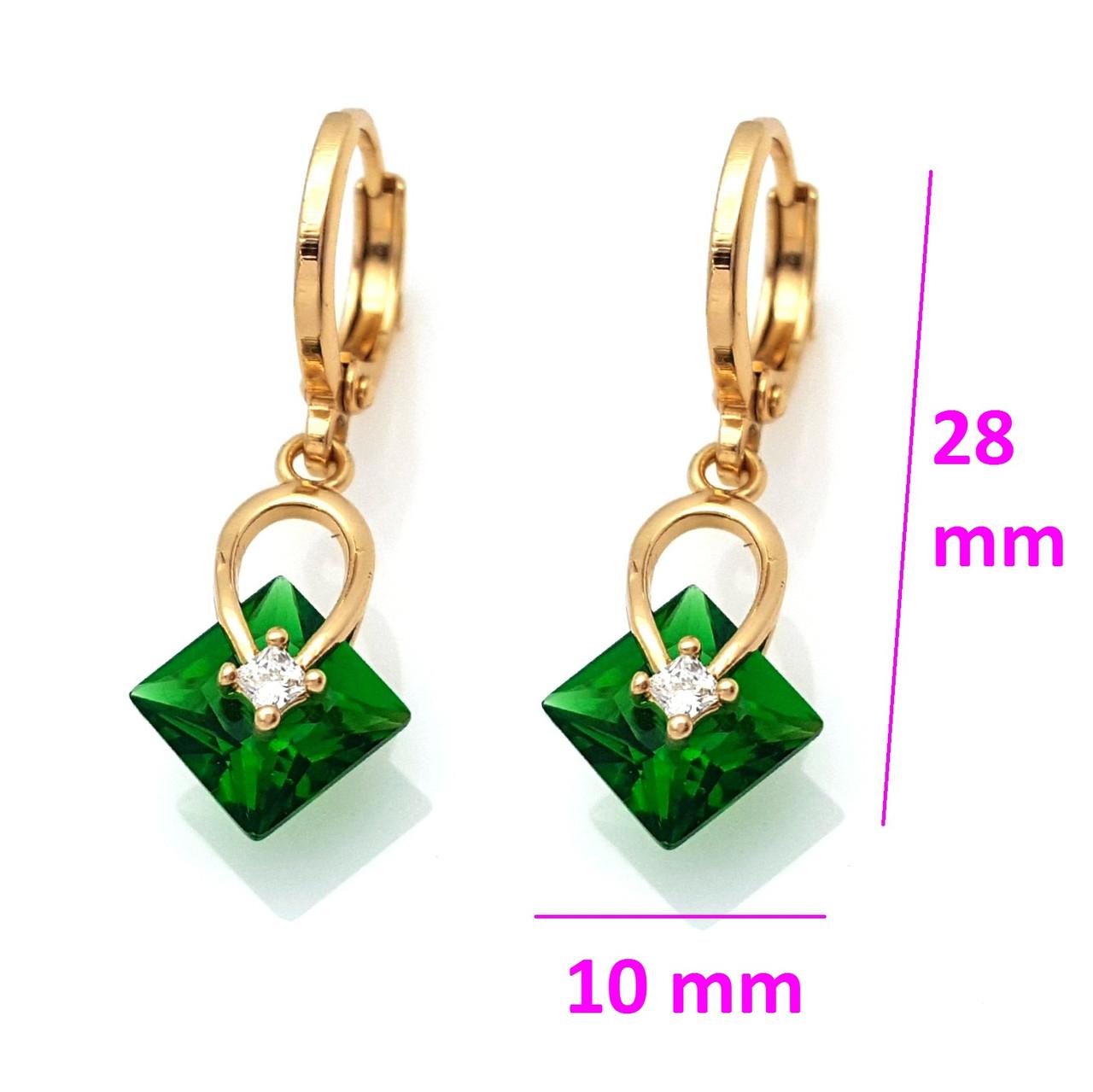 Серьги позолоченные, Висюльки с зеленым цирконием, Xuping