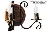 Бра из натурального дуба колесо точенное на 2 лампы свечи