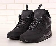 Кроссовки мужские Nike Sneakerboot на зиму кожаные с термоноском высокие найки (черные), ТОП-реплика, фото 1