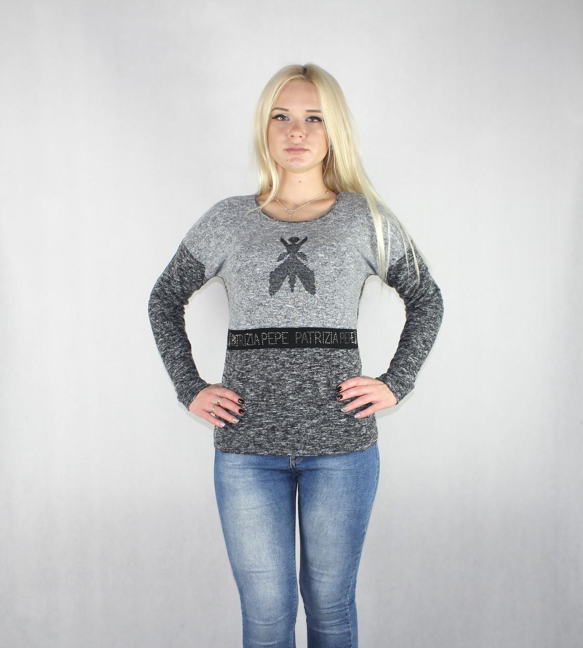 Женская теплая кофта серого цвета
