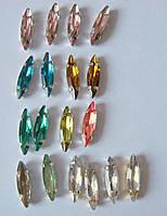 Упаковка стеклянных пришивных стразов в металлической закрепке, 5х4х15 мм, 18 штук