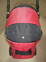 301 Кукольная коляска-трансформер 2в1 с переноской Adbor Mini Ring (красный(структурный), с черным)