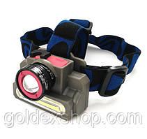 Фонарь налобный Police 8808 (6908) XPE+COB, zoom, micro USB, аккумуляторный