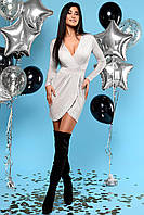 Сияющее Серебристое Платье Мини Нарядное на Запах Серебро S-XL, фото 1