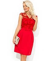 Красное платье-мини с юбкой-тюльпан Д-1713
