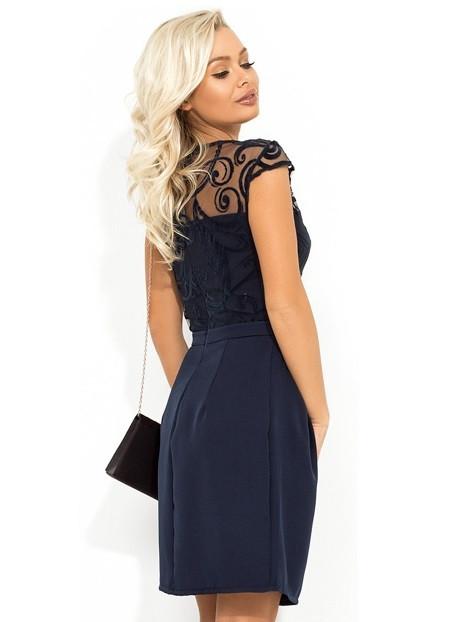 3bfad6e49e144fc Темно-синее платье-мини с юбкой-тюльпан Д-1712: продажа, цена в ...