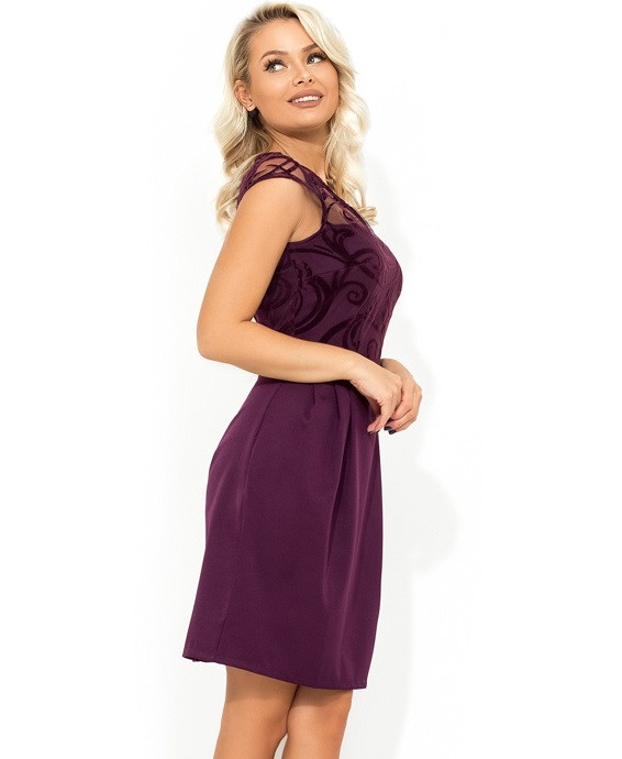 Фіолетова сукня-міні з спідницею-тюльпан Д-1711
