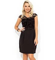 Черное платье-мини с юбкой-тюльпан Д-1710