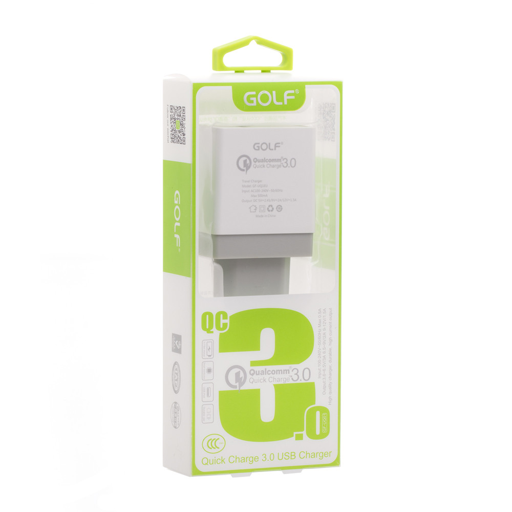 Сетевое зарядное устройство Golf GF-UQ1 qualcomm QC 3,0 1USB, 5A