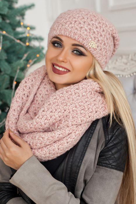 Зимний женский комплект «Денвер» (шапка и шарф-снуд) пудра