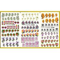 Водные Наклейки для Ногтей Разноцветные, Большая Тройная Пластина, Дизайн Ногтей, Angevi S 004-005-006