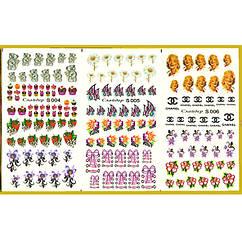 Наклейки для Ногтей PhotonailArt Водные Разноцветные, Большая Тройная Пластина, Angevi S S 004-005-006