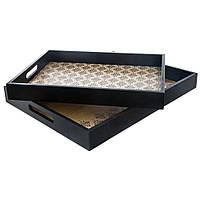 Набор из двух подносов, с этническим дизайном, черный цвет, материал MDF, размеры: маленький                     40x30x4.5 см, большой 46x36x5 см