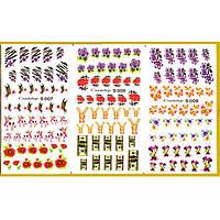 Водные Наклейки для Ногтей Разноцветные, Большая Тройная Пластина, Дизайн Ногтей, Angevi S 007-008-009