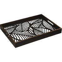 Декоративный поднос для сервировки, деревянный, мотив джунглей, размеры 43x31 см, функциональный,                     завышенные бока, черный цвет