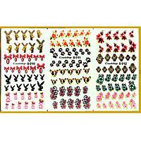 Водные Наклейки для Ногтей Разноцветные, Большая Тройная Пластина, Дизайн Ногтей, Angevi S 010-011-012