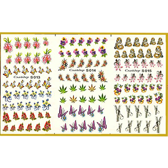Водные Наклейки для Ногтей Разноцветные, Большая Тройная Пластина, Дизайн Ногтей, Angevi S 013-014-015