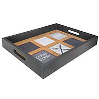 Стильный поднос для сервировки, из MDF и стекла, с двумя ручками и завышеными боками, длинна 40.5                     см, цвет черно-коричневый