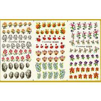 Водные Наклейки для Ногтей Разноцветные, Большая Тройная Пластина, Дизайн Ногтей, Angevi S 019-020-021