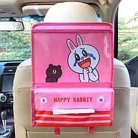 Органайзер с карманом для планшета в автомобиль детский Розовый (04174)