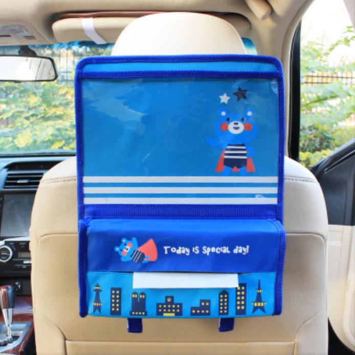 Органайзер с карманом для планшета в автомобиль детский Синий (04175)