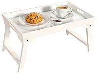 Элегантный складной белый столик, деревянный столик, белый стол, поднос для завтрака, поднос для                     кровати, столик для кровати,