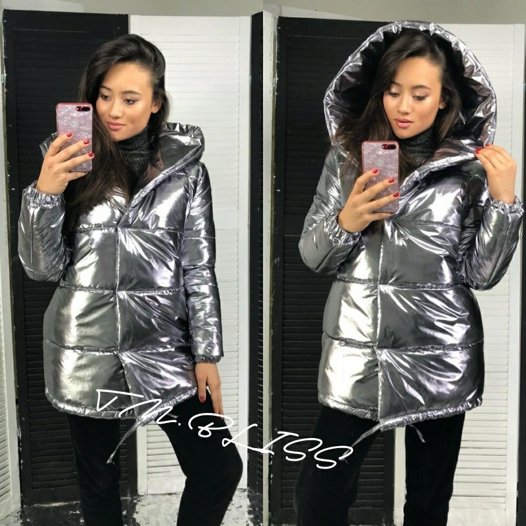 Куртка зимняя из плащевки металл с большим капюшоном 34kr176