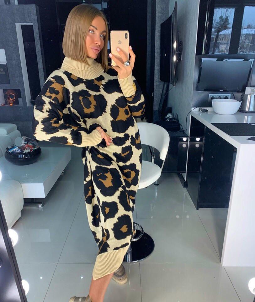 Вязаное длинное платье в леопардовый принт 18py2247