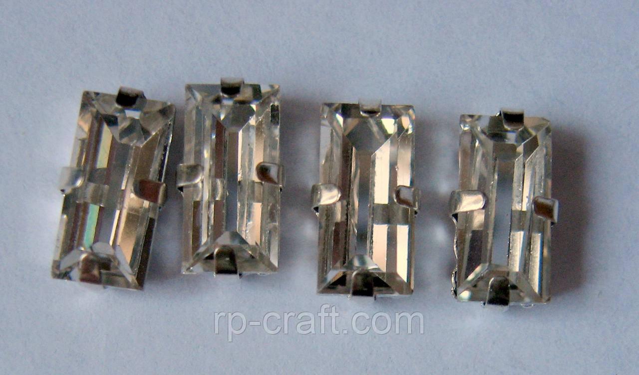 Упаковка стеклянных пришивных стразов в металлической закрепке, 5х5х10 мм, 4 штуки