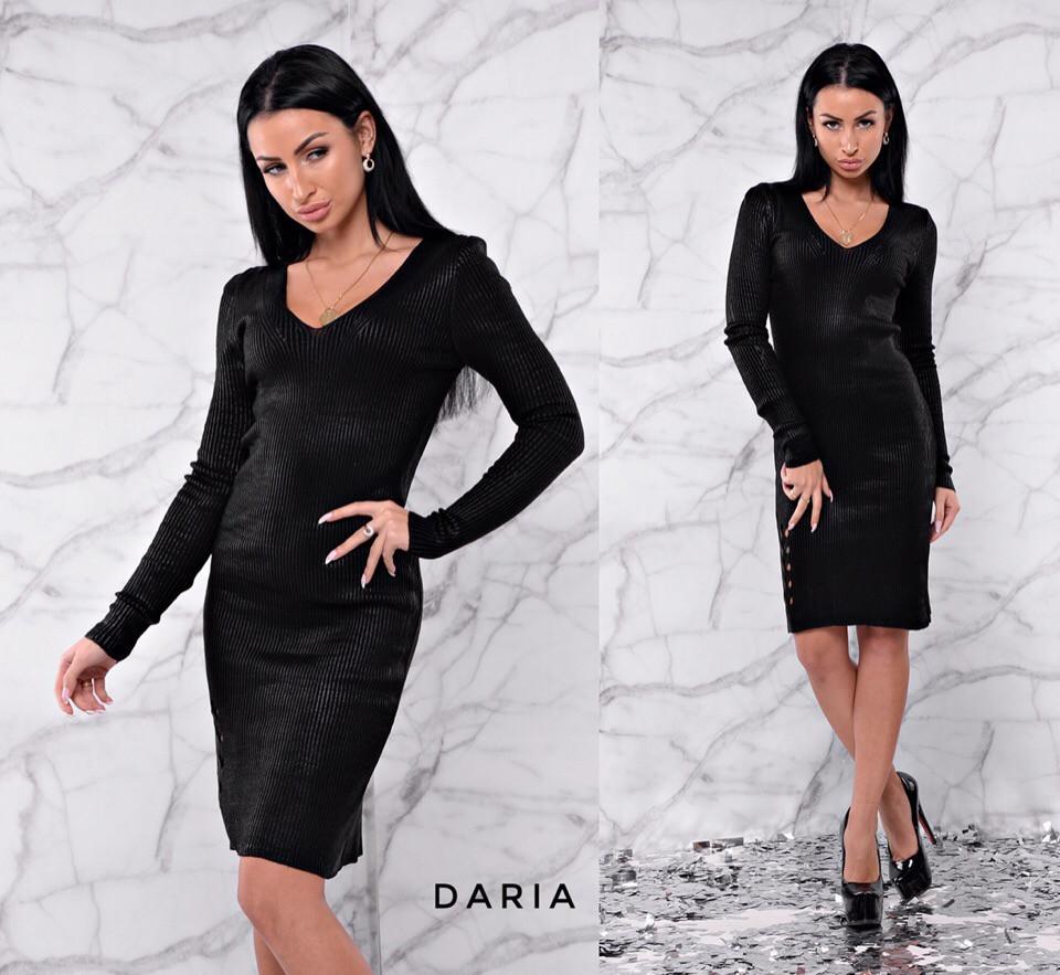 Платье с вырезом из мелкой вязки 55py2256