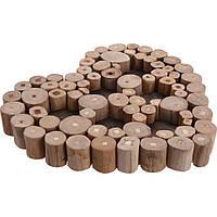 Гениальный подсвечник из тикового дерева, место для 6 свечей, в форме сердца, коричневый цвет                     (32644)