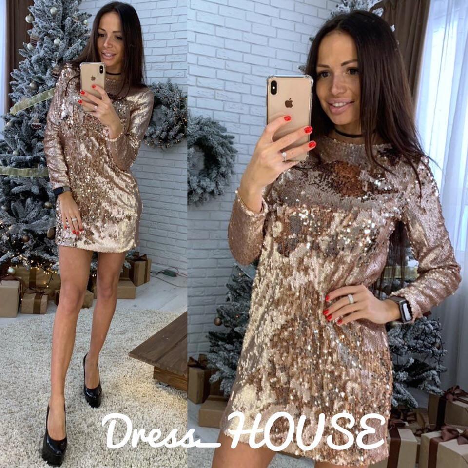 Платье прямое короткое из пайетки 5py2271