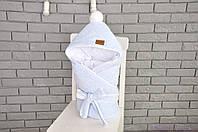 Велюровый конверт одеяло, на трикотаже, голубой меланж, фото 1