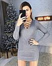 Платье рубчик со шнуровкой на груди 65py2281, фото 3